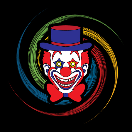 jugglery: Clown head, smile face designed on spin wheel background graphic vector. Illustration