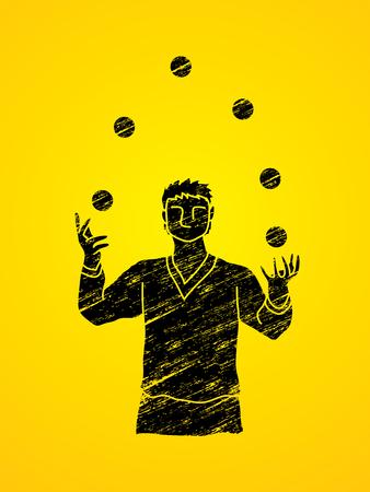 A man juggling balls designed using black grunge brush graphic vector. Illustration