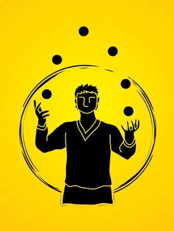 Un hombre malabares bolas vector gráfico. Ilustración de vector