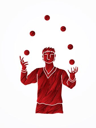 A man juggling balls designed using red grunge brush graphic vector.