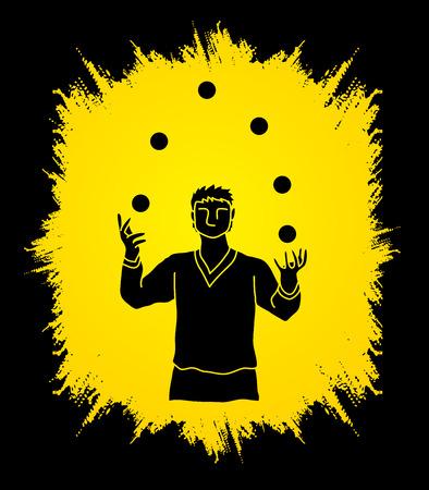 A man juggling balls designed on grunge frame background graphic vector. Vektorové ilustrace