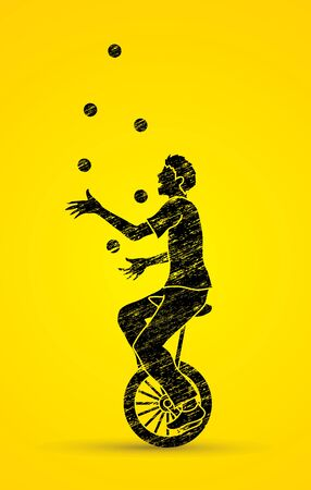A man juggling balls while cycling designed using black grunge brush graphic vector. Vectores