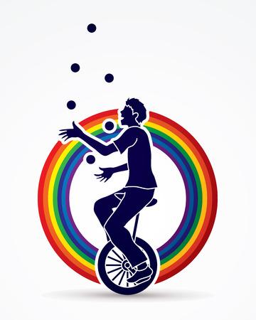Un hombre que hace juegos malabares bolas mientras que diseña en línea el vector gráfico del fondo del arco iris de la línea.