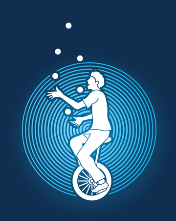 juggle: A man juggling balls while cycling designed on circle light background graphic vector. Illustration