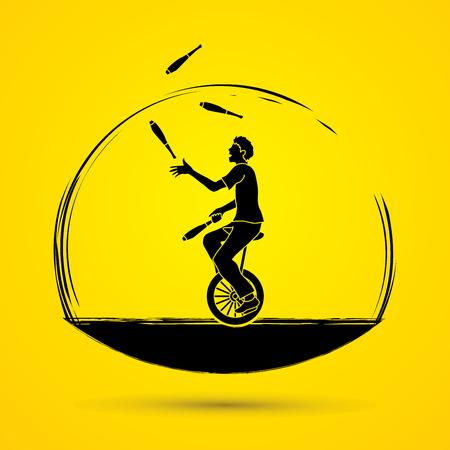 Een man jonglerenpennen tijdens fietsen grafische vector. Vector Illustratie