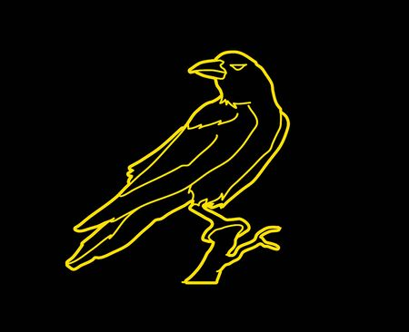 cling: Crow outline graphic vector. Illustration