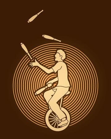 juggle: A man juggling pins while cycling designed on circle line background graphic vector.