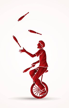 A man juggling pins while cycling designed using red grunge brush graphic vector.