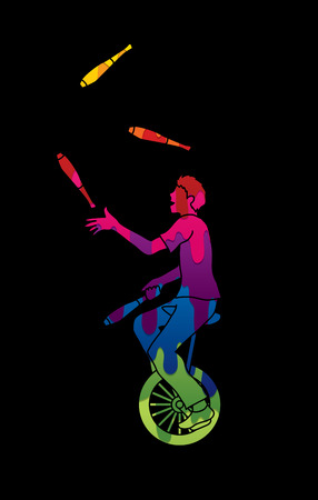 juggle: A man juggling pins while cycling designed using melting colors graphic vector.