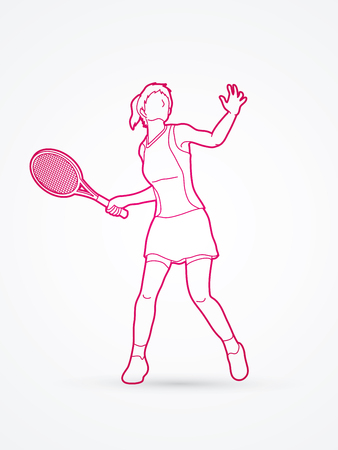 screen printing: Woman tennis player action outline graphic vector.