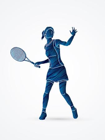 Vrouw tennisspeler actie ontworpen met behulp van zwarte grunge brush grafische vector.