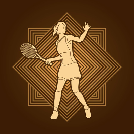 screen printing: Woman tennis player action designed on line square background graphic vector.