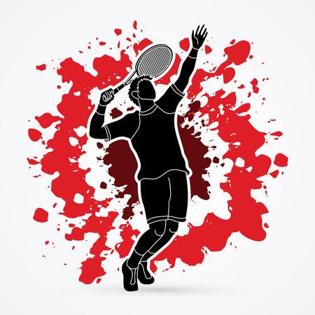 Man tennis player action serve designed on splatter blood background graphic vector.