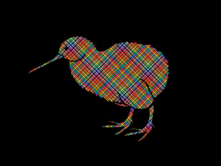 small flock: Kiwi bird designed using colorful pixels graphic vector.