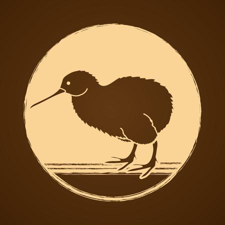 Kiwi bird designed on golden grunge circle background graphic vector. Illustration