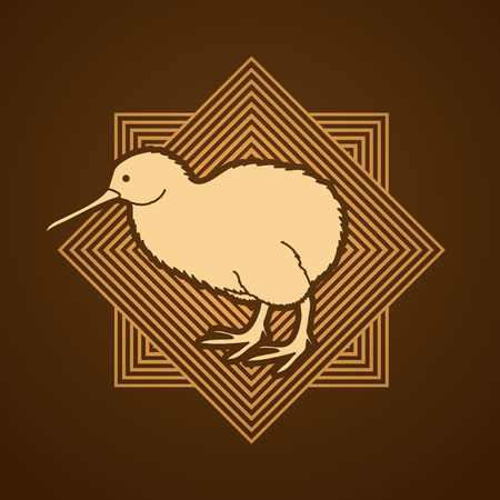 flocks: Kiwi bird designed on line square background graphic vector.