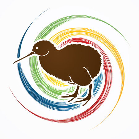 Kiwi bird designed on spin wheel background graphic vector.