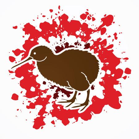 Kiwi bird designed on splatter blood background graphic vector.