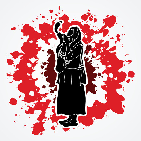 yom kippur: Jew blowing the shofar side view designed on splatter ink background graphic vector.