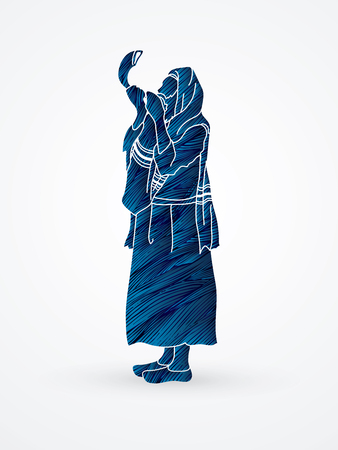 talit: Jew blowing the shofar side view designed using blue grunge brush graphic vector.