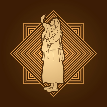 talit: Jew blowing the shofar side view designed on line square background graphic vector.