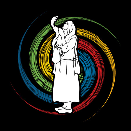 yom kippur: Jew blowing the shofar side view designed on spin wheel background graphic vector. Illustration