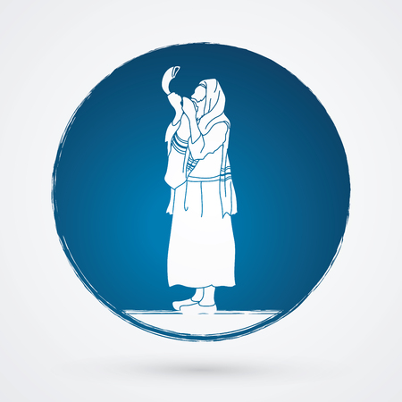Jew blowing the shofar side view designed on grunge circle background graphic vector. Illustration