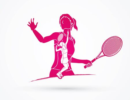 Double exposure, Tennis player sports woman graphic vector.