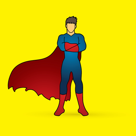 screen printing: Super hero man standing arms across the chest graphic vector.