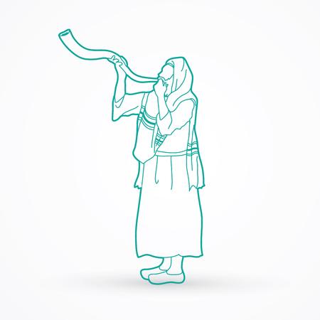 talit: Kudu shofar blower outline graphic