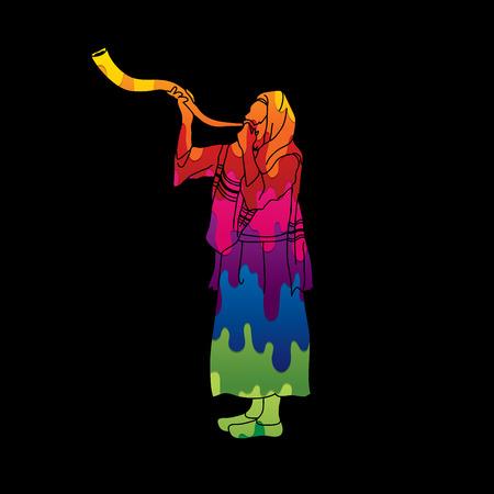 talit: Kudu shofar blower design using melting colors graphic