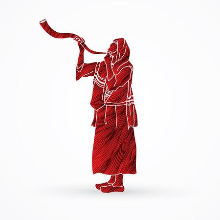talit: Kudu shofar blower design using red grunge brush graphic Illustration
