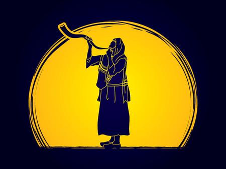 Kudu shofar blower design on moonlight graphic Illustration