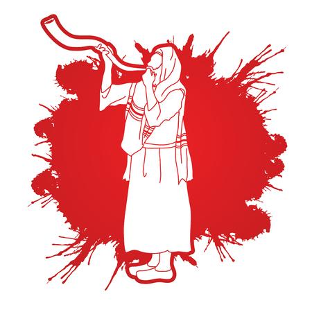 talit: Kudu shofar blower design on splatter color graphic