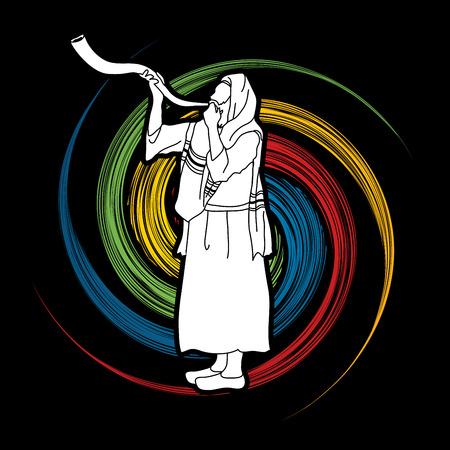 spin: Kudu shofar blower design on spin wheel graphic Illustration