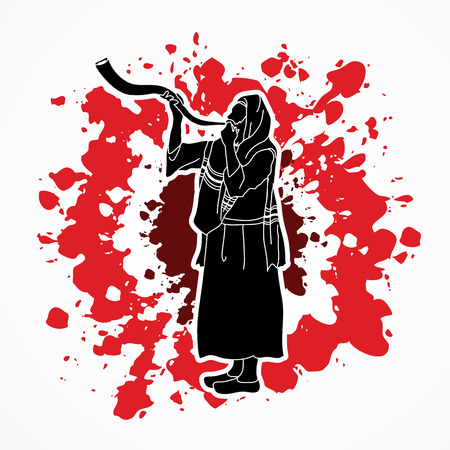 Shofar blowing, Kudu shofar blower design on splatter blood graphic vector.