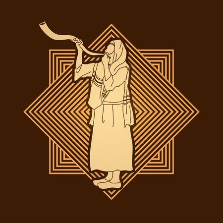 talit: Shofar blowing, Kudu shofar blower design on line square graphic vector. Illustration