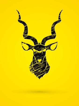 screen printing: Kudu head front view designed using black grunge brush graphic vector.