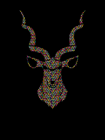 Kudu head front view designed using mosaic pattern graphic vector.