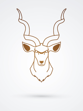 Kudu head front outline graphic vector.