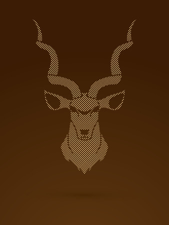 Kudu head front view designed using dots pixels graphic vector.