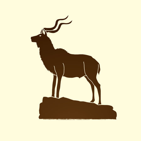 Kudu standing on the cliff graphic vector.