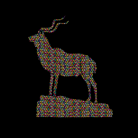 Kudu standing on the cliff designed using colorful mosaic graphic vector.