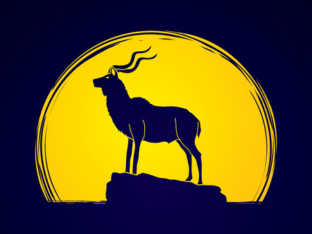 Kudu standing on the cliff designed on moonlight background graphic vector.