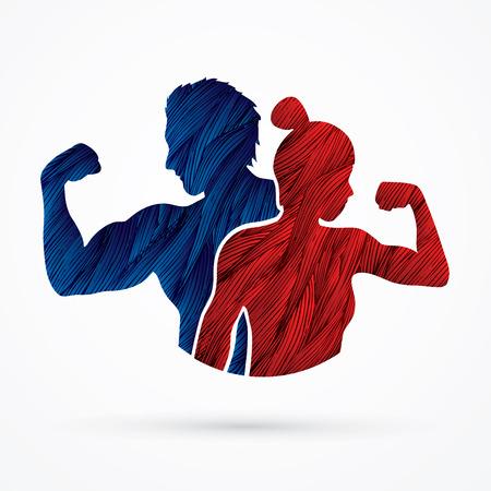 Fitness silueta hombre y mujer diseñados con grunge vector gráfico de cepillo.