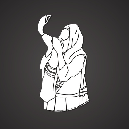 talit: Jew blowing the shofar sheep horn graphic vector.