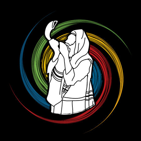 yom: Jew blowing the shofar sheep horn on spin wheel  background graphic vector. Illustration