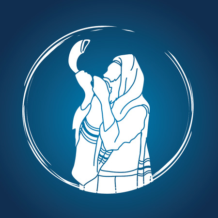 Jew blowing the shofar sheep horn graphic vector.