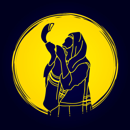talit: Jew blowing the shofar sheep horn on moonlight background graphic vector.