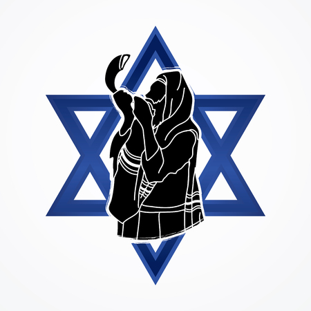 Jew blowing the shofar sheep horn on Israel star background graphic vector.